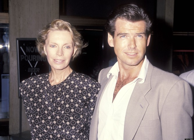 "CENTURY CITY, CA - SEPTEMBER 10: Actor Pierce Brosnan and wife Cassandra Harris attend the ""Postcards from the Edge"" Century City Premiere on September 10, 1990 at Cineplex Odeon Century Plaza Cinemas in Century City, California. (Photo by Ron Galella, Ltd./WireImage)"